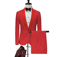 Men Red Jacquard Paisley Suits Blazer Groom Tuxedos Prom Dinner Wedding Suit