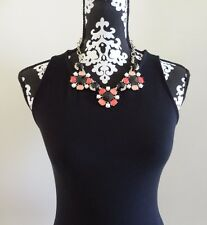 WHITE HOUSE BLACK MARKET Coral and Jet Flower Statement Necklace - NWT