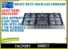 STAINLESS STEEL HEAVY DUTY 5 BURNER 90CM GAS COOKTOP HOB WOK *ON SPECIAL 50 ONLY
