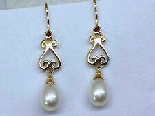 E056 Genuine 9ct SOLID Yellow Gold NATURAL Garnet & Pearl Scroll Drop Earrings