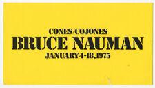 Bruce Nauman, Exhibition Invitationcard Cones/Cojones, Leo Castelli Gallery, 197
