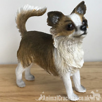 Beige Long Hair Chihuahua ornament figurine lifelike Leonardo range Gift boxed