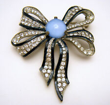 Art Deco Rhinestone Enamel Bow Brooch Pot Metal Satin Glass Cabochon