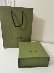 """Gucci Authentic Gift Box FLAWS 7.25×7.5×3"""" & New Shopping Bag 10.25×13.75×5.5"""""""