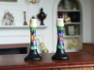 Dollhouse Miniature Antique Painted Porcelain Candle Stick Holders Germany 1:12