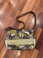 FOSSIL Key-Per floral coated canvas large messenger bag Purse Crossbody