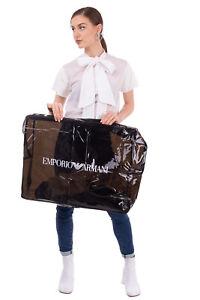 EMPORIO ARMANI Oversized Clutch Pouch Bag Black PVC Logo Print See Through