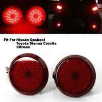 2x LED Rear Bumper Reflector Brake Stop Lights Round fit NISSAN QASHQAI 07-15