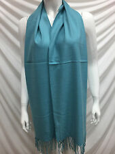 100% CASHMERE SCARF MADE IN SCOTLAND PLAIN COLOR LIGHT TURQUOISE SUPER SOFT