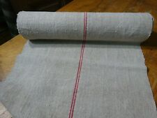 A Homespun Linen Hemp/Flax Yardage 11 Yards x 22'' Red Stripes  # 9771