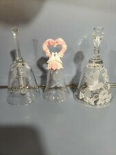 Avon Bells Lot Of 3 . 100 Anniversary, 1992 Heart Bell With Doves & Hand.