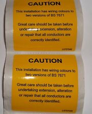 2 x Yellow Self Adhesive label Large Warning Installation Has 2 wiring Colours