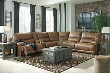 Modern Living Room Sectional - Brown Faux Leather Power Reclining Sofa Set IF23