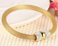 Gold stainless steel magnet Clasp Crystals Mesh Chain Bracelet Ladies Bangle