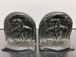 Vintage L.V. ARONSON Trail of Tears Equestrian Horse Metal Bookends