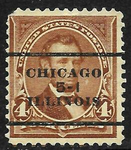 """Sc #280 """"Chicago 5-1 Illinois"""" Precancel 4 Cent Linclion Bureau 1894-95 US 92D25"""