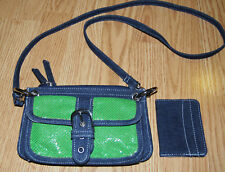WHITING & DAVIS denim Kelly green metal crossbody bag clutch purse soho + wallet