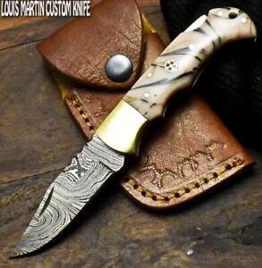 Louis Martin Hand Forged Damascus Steel Corain Hunting Folding Knife Back Lock