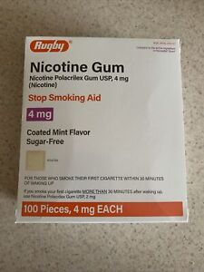 Rugby Nicotine Gum 4mg Coated Mint, sugar free 1 box 100 pieces