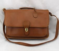 TANNERY WEST Saddle Brown Tan Genuine Leather Turn Lock Messenger Attache Bag