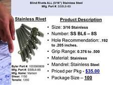 3/16 Stainless Steel Pop Rivet