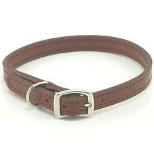 "HAMILTON Stitched Leather Dog Collar, 14"" x 1/2"", Brown"