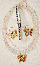jewelry set new butterfly glass crystal necklace earrings bracelet gold silver