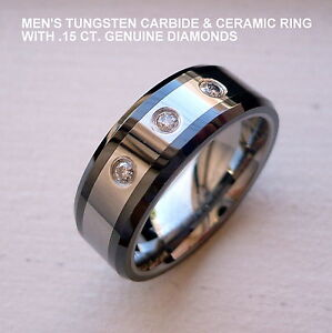 MEN'S 8MM TUNGSTEN CARBIDE & BLACK CERAMIC BAND RING GENUINE DIAMONDS size 8-14