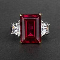 3 Ct Emerald Cut Red Ruby  3 Diamond Halo Engagement Ring 14k White Gold Finish.