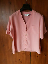 BLOUSE TOP Rose Pink Button Front UK 16 / 44 - VGC