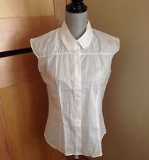 Talbots Cotton Voile Cap Sleeve Button Down Blouse - White - Size 12