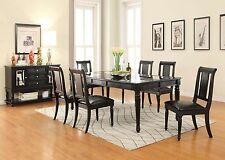 Traditional Casual Black Wood Finish Glass Rect Dining Table Chairs Pu Seat 7pc