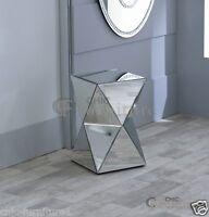 New Chic Furniture Small Diamond Mirrored Glass Twisted Pedestal