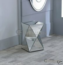 New Small Glitz Diamond Modern Art Deco Style Mirrored Glass Abstract Pedestal