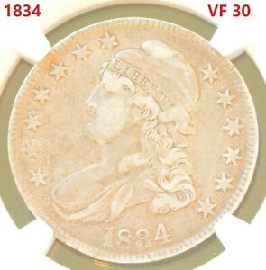 US Bust Half Dollars 1834 50C  Silver Coin NGC VF 30