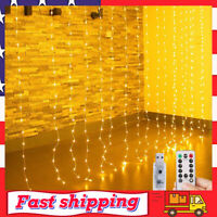 String Lights Curtain Window Christmas Fairy Lights String 300 LEDs 8 Modes