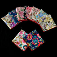 Men Pocket Square Handkerchief Cotton Flower Floral Wedding Party Hanky NEW