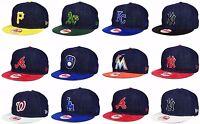 New Era MLB Authentic 9FIFTY Mens Snapback 2 Tone Denim Suede Baseball Hat Cap