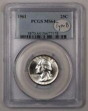 1961 Washington Silver Quarter Coin 25c PCGS MS-64 Type B 1A