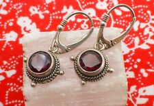 925 Sterling Silver Red Round-Cut Garnet Drop Leverback Earrings