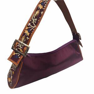 Purple Embroidered Purse  Handbag Long Hobo Shoulder Bag Women Boho Hippie EUC
