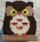 Handmade Needlepoint Plastic Canvas Candle Cover Flicker Box Owls