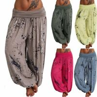 Plus Size Womens Lady Print Harem Pants Casual Baggy Wide Leg Yoga Long Trousers