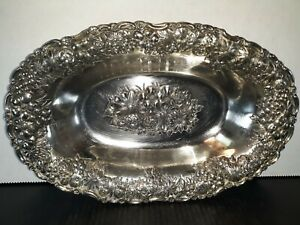 Antique Silver Plated Japanese Antimony Bowl Prunus Flower Decoration
