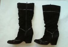 8 - 8.5 ALDO 39 Black high boots wedge block  heeled suede leather stripe zipper