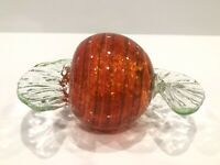 LARGE Hand Blown Art Glass CANDY Piece - Red With Green Twist