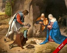 ADMIRATION OF THE SHEPHERDS BABY JESUS NATIVITY PAINTING ART REAL CANVAS PRINT