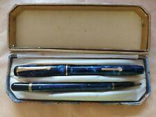 Vintage CONWAY STEWART 759 Blue FOUNTAIN PEN 14ct Gold Nib, Pencil, Box 1940's