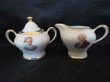 George and Martha Washington Creamer and Lidded Sugar Bowl