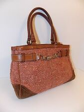 Coach  Hamptons Herringbone Tweed Leather Satchel Handbag Purse